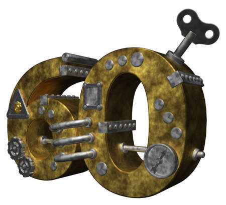dieselpunk: steampunk number sixty on white background - 3d illustration Stock Photo