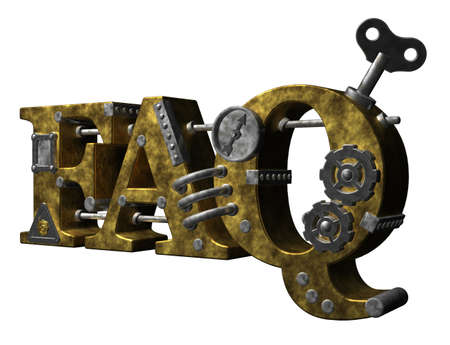 dieselpunk: metal letters faq on white background - 3d illustration