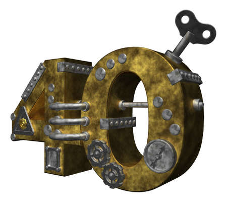 dieselpunk: steampunk number forty on white background - 3d illustration