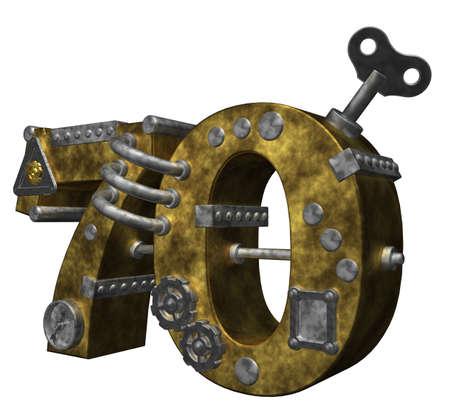 dieselpunk: steampunk number seventy on white background - 3d illustration Stock Photo