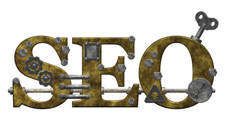 retro industrial letters seo on white background - 3d illustration Stock Illustration - 9959122