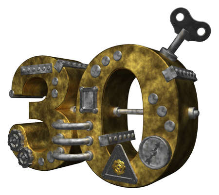 steampunk number thirty on white background - 3d illustration illustration