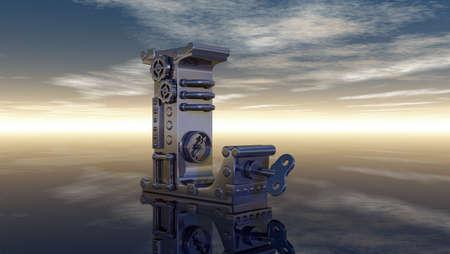 machine letter l under cloudy sky - 3d illustration illustration