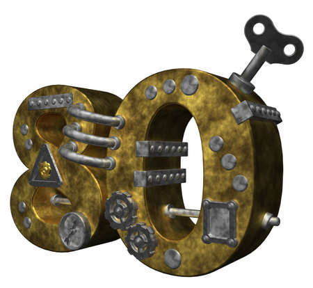 eighty: steampunk number eighty on white background - 3d illustration