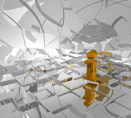 rectangulo: oro y fondo de cubos letra i ilustraci�n - 3d Foto de archivo