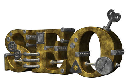 dieselpunk: retro industrial letters seo on white background - 3d illustration Stock Photo