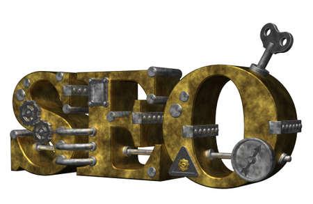 retro industrial letters seo on white background - 3d illustration Stock Illustration - 9959150