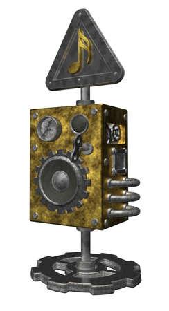steampunk loudspeaker on white background - 3d illustration illustration