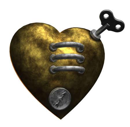dieselpunk: metal heart on white background - 3d illustration Stock Photo