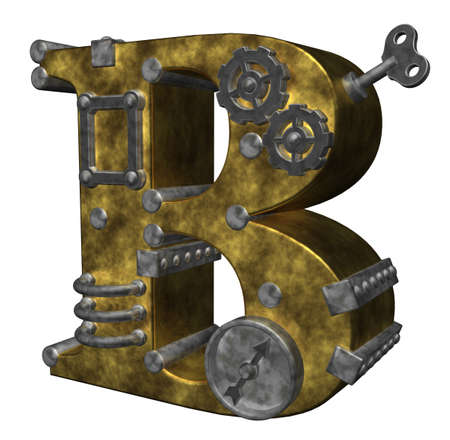 steampunk letter b on white background - 3d illustration