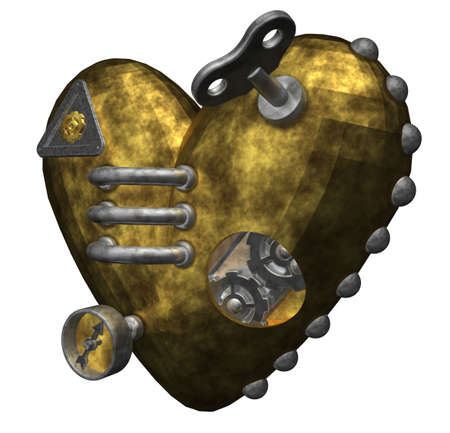heart gear: metal heart on white background - 3d illustration Stock Photo