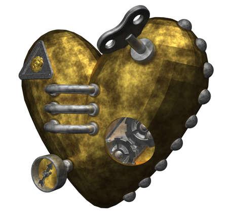 metal heart on white background - 3d illustration illustration