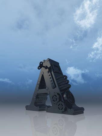 letter a under blue sky - 3d illustration illustration