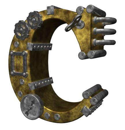 rueda dentada: c Carta de steampunk en ilustraci�n de fondo blanco - 3d