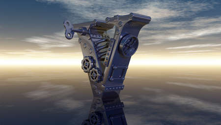 machine letter v under cloudy sky - 3d illustration illustration