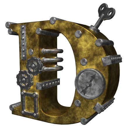 metal letter: steampunk letter d on white background - 3d illustration