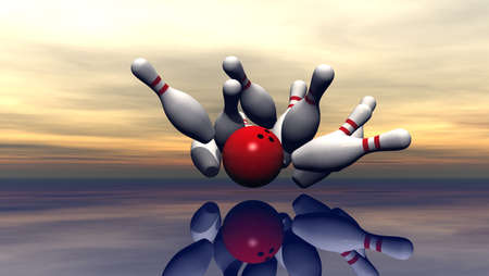 in ten: bowling pins and ball under cloudy sky - 3d illustration Stock Photo