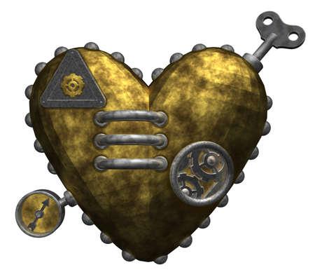 metal heart on white background - 3d illustration Zdjęcie Seryjne