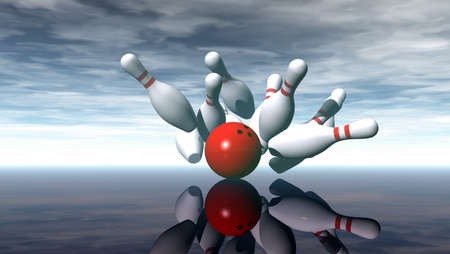 strike: bowling pins and ball under cloudy sky - 3d illustration Stock Photo