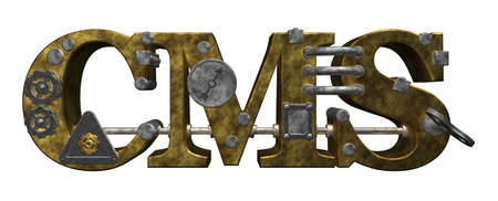 dieselpunk: the letters cms in steampunk style - 3d illustration