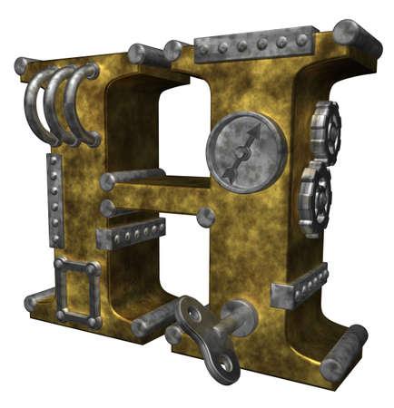 industrial decor: steampunk letter h on white background - 3d illustration