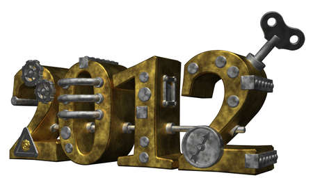 dieselpunk: metal number 2012 on white background Stock Photo