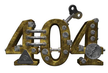 dieselpunk: metal number 404 on white background - 3d illustration