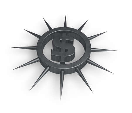 prickles: dollar symbol in ring with prickles - 3d illustration Stock Photo