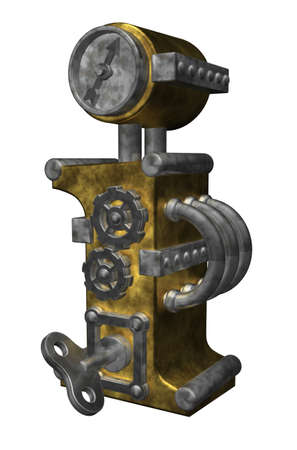 steampunk letter i on white background - 3d illustration illustration