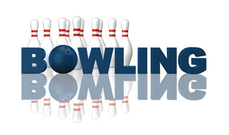 bowling sport: the word bowling, pins and ball on white background - 3d illustration