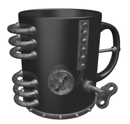 metal mug on white background - 3d illustration Stock Illustration - 10203630