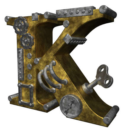 steampunk letter k on white background - 3d illustration illustration