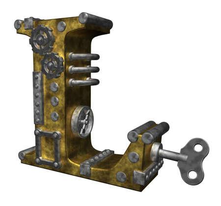 steampunk letter l on white background - 3d illustration