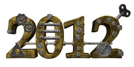 dieselpunk: metal number 2012 on white background - 3d illustration