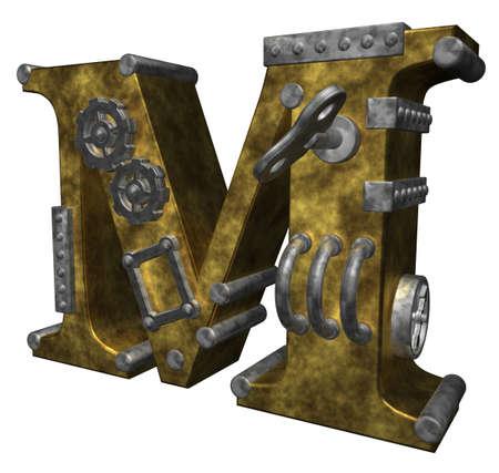 steampunk letter m op een witte achtergrond - 3d illustratie Stockfoto