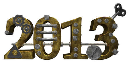 dieselpunk: metal number 2013 on white background - 3d illustration Stock Photo