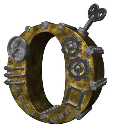 clockworks: steampunk letter o on white background - 3d illustration