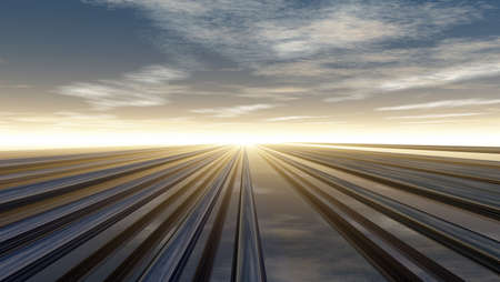 metal pipelines under cloudy sky - 3d illustration