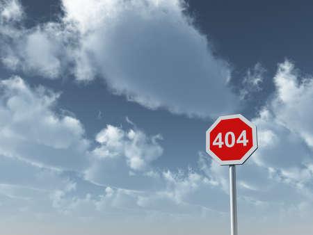 unreachable: 404 sign under cloudy blue sky - 3d illustration