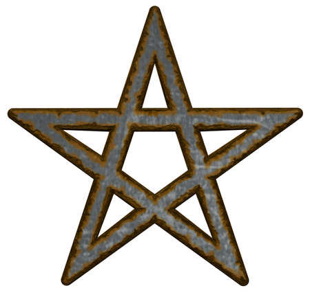 rusty pentacle on white background - 3d illustration illustration