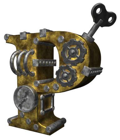 ancient alphabet: steampunk letter p on white background - 3d illustration
