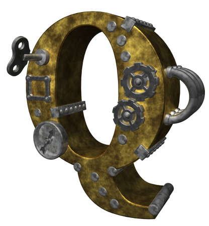steampunk letter q on white background - 3d illustration illustration