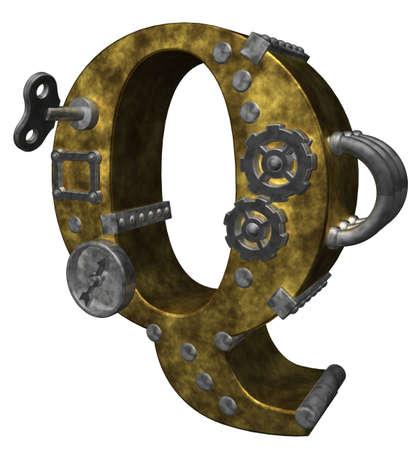 q: steampunk lettera q su sfondo bianco - 3d illustrazione