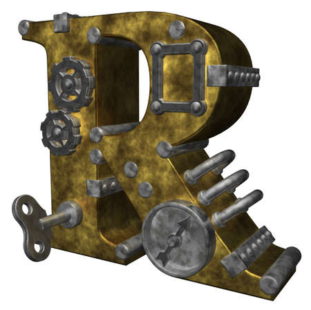 steampunk letter r on white background - 3d illustration Stock Photo