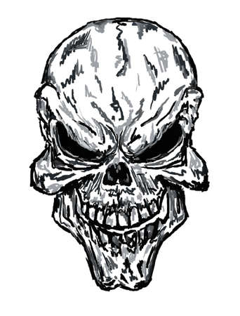 painted face: sketch of evil skull Stock Photo