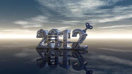 dieselpunk: metal number 2012 under blue sky - 3d illustration Stock Photo