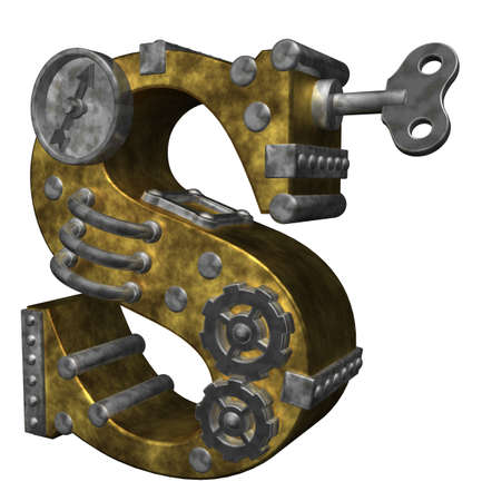 metal letter: steampunk letter s on white background - 3d illustration