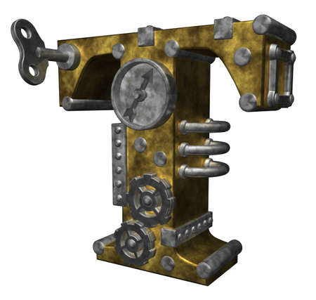 steampunk letter t on white background - 3d illustration 版權商用圖片