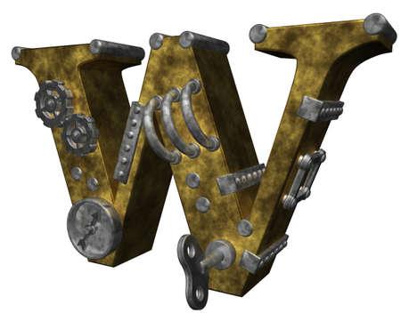 steampunk letter w on white background - 3d illustration