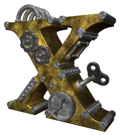 steampunk letter x on white background - 3d illustration